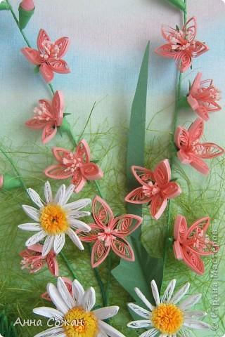 Картина, панно Бумагопластика, Квиллинг: На моём лугу цветы -для души и красоты! Бумага, Пастель День рождения. Фото 7