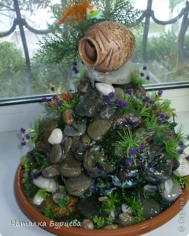 Поделка, изделие: Еще один фонтан-имитация Клей, Материал природный. Фото 7