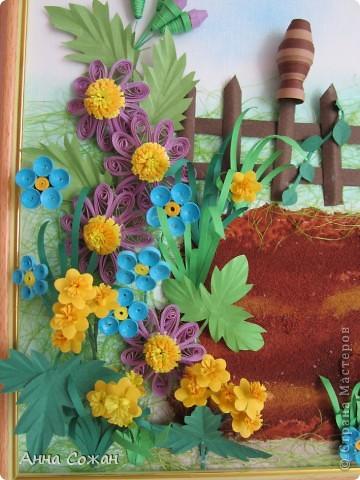 Картина, рисунок, панно, Мастер-класс Бумагопластика, Квиллинг:  В садочке + МК Горшочка Бумага, Краска, Пастель, Проволока День рождения. Фото 2