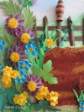 Картина, рисунок, панно, Мастер-класс Бумагопластика, Квиллинг:  В садочке + МК Горшочка Бумага, Краска, Пастель, Проволока День рождения. Фото 13
