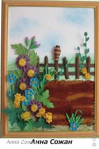 Картина, рисунок, панно, Мастер-класс Бумагопластика, Квиллинг:  В садочке + МК Горшочка Бумага, Краска, Пастель, Проволока День рождения. Фото 15