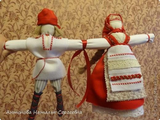 Куклы, Мастер-класс Вышивка крестом, Шитьё: Неразлучная пара Канва, Кружево, Ткань День семьи, Свадьба. Фото 1