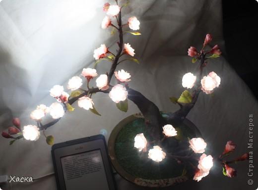 Поделка, изделие Декупаж, Лепка: Светильник светодиодный САКУРА бонсай Салфетки, Фарфор холодный. Фото 2