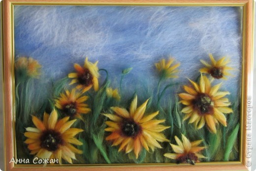 Картина, рисунок, панно Валяние (фильцевание), Рисование и живопись: Поле из подсолнухов Шерсть Отдых. Фото 3