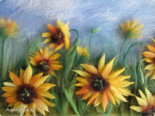 Картина, рисунок, панно Валяние (фильцевание), Рисование и живопись: Поле из подсолнухов Шерсть Отдых. Фото 2