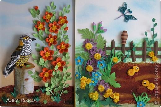 Картина, рисунок, панно Бумагопластика, Квиллинг: Встреча Бумага, Бумажные полосы, Пастель Отдых. Фото 16