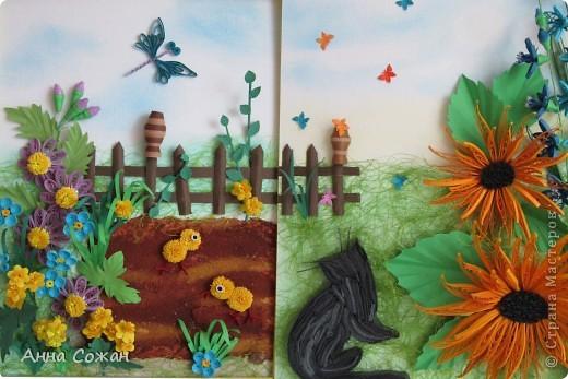 Картина, рисунок, панно Бумагопластика, Квиллинг: Встреча Бумага, Бумажные полосы, Пастель Отдых. Фото 17