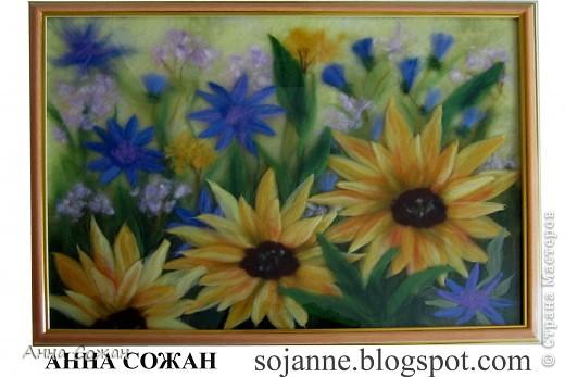 Картина, рисунок, панно Валяние (фильцевание), Рисование и живопись: Мои подсолнухи Шерсть. Фото 3