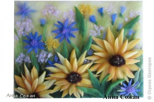 Картина, рисунок, панно Валяние (фильцевание), Рисование и живопись: Мои подсолнухи Шерсть. Фото 1