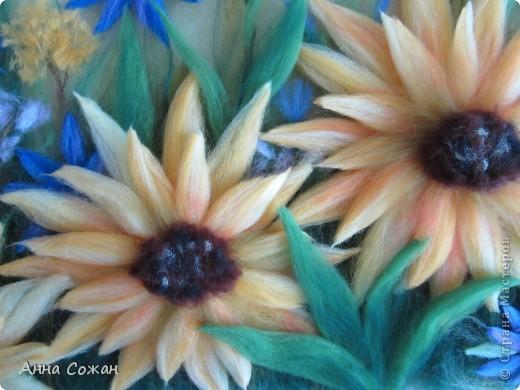Картина, рисунок, панно Валяние (фильцевание), Рисование и живопись: Мои подсолнухи Шерсть. Фото 2