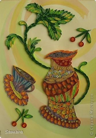 Мастер-класс Квиллинг: Натюрморт декоративный с вазой Бумажные полосы. Фото 1