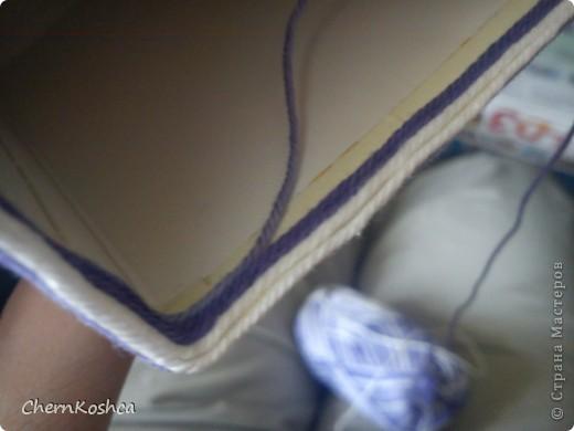 Декор предметов, Мастер-класс, Поделка, изделие Аппликация, Плетение: Подставка для ручек или чудеса меланжа) МК Картон, Нитки. Фото 10