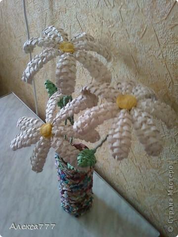 Мастер-класс Плетение: Мои ромашечки Бумага газетная, Бумага журнальная, Вата, Клей, Нитки. Фото 15