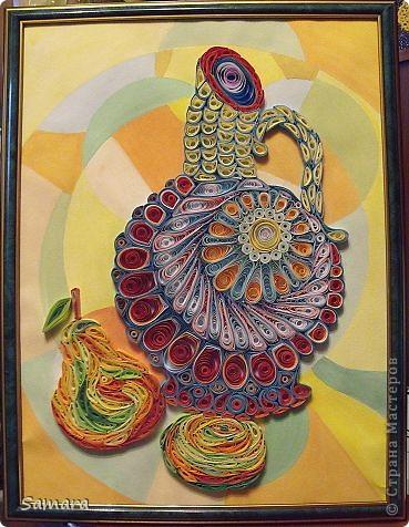 Мастер-класс Квиллинг: Натюрморт декоративный. Кувшин с фруктами. Бумажные полосы. Фото 1