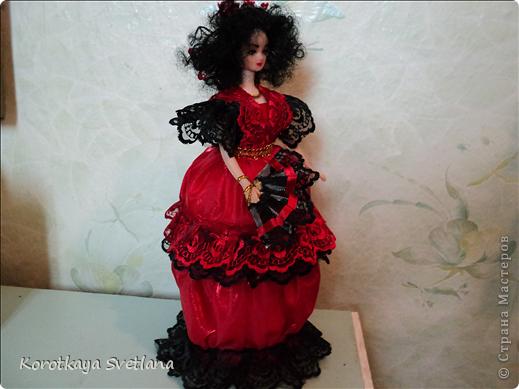 Куклы, Мастер-класс, Поделка, изделие Шитьё: Кукла-шкатулка Кармэн + маленький МК Кружево, Ткань. Фото 6