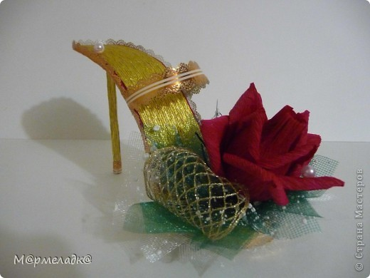 Мастер-класс, Свит-дизайн Бумагопластика: Сладкая туфелька МК Бумага гофрированная. Фото 1
