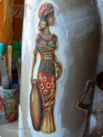 Декор предметов, Мастер-класс Декупаж, Лепка, Папье-маше:  МК.  Напольная ваза своими руками.  Африканские мотивы. Процесс. Гипс, Клей, Материал бросовый, Салфетки, Фарфор холодный. Фото 13