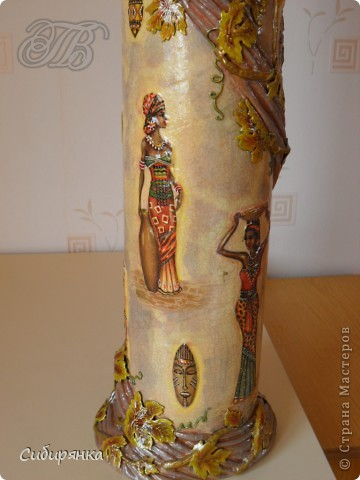 Декор предметов, Мастер-класс Декупаж, Лепка, Папье-маше:  МК.  Напольная ваза своими руками.  Африканские мотивы. Процесс. Гипс, Клей, Материал бросовый, Салфетки, Фарфор холодный. Фото 22