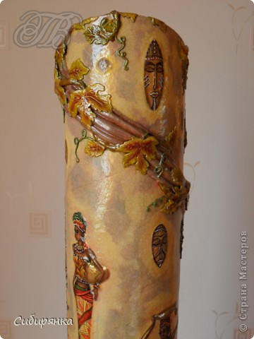 Декор предметов, Мастер-класс Декупаж, Лепка, Папье-маше:  МК.  Напольная ваза своими руками.  Африканские мотивы. Процесс. Гипс, Клей, Материал бросовый, Салфетки, Фарфор холодный. Фото 23