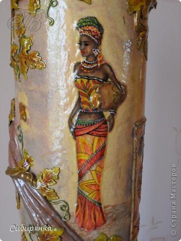 Декор предметов, Мастер-класс Декупаж, Лепка, Папье-маше:  МК.  Напольная ваза своими руками.  Африканские мотивы. Процесс. Гипс, Клей, Материал бросовый, Салфетки, Фарфор холодный. Фото 24