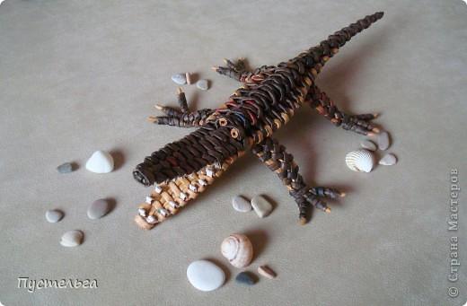 Мастер-класс, Поделка, изделие Плетение: Крокодил Бумага газетная. Фото 25