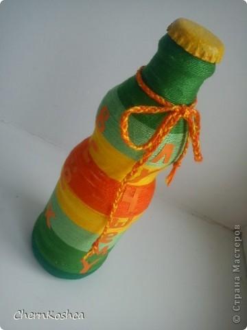 Поделка, изделие Аппликация: Бутылочка. Моя первая Нитки. Фото 1