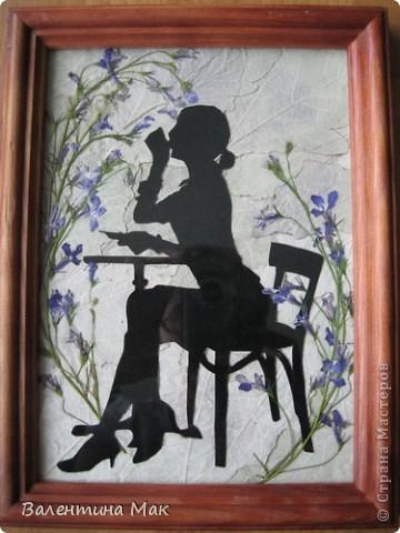 Картина, панно, рисунок, Мастер-класс Аппликация: Плоскостная флористика+силуэтное вырезание. Маленький МК. Бумага бархатная, Материал природный. Фото 2