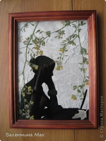 Картина, панно, рисунок, Мастер-класс Аппликация: Плоскостная флористика+силуэтное вырезание. Маленький МК. Бумага бархатная, Материал природный. Фото 3