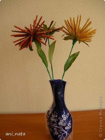 Мастер-класс Моделирование: Хризантемы из осенних листьев. Бумага гофрированная, Листья, Нитки Праздник осени. Фото 23