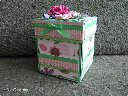Открытка, Поделка, изделие Аппликация, Ассамбляж: Magik-box в подарок Бумага, Бусинки, Картон, Ленты, Пуговицы День рождения. Фото 2