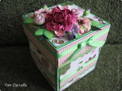 Открытка, Поделка, изделие Аппликация, Ассамбляж: Magik-box в подарок Бумага, Бусинки, Картон, Ленты, Пуговицы День рождения. Фото 8