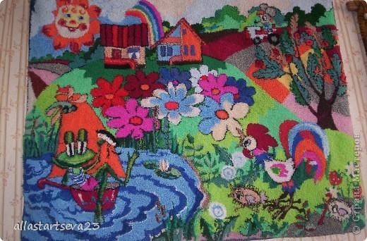 """Картина, панно, рисунок Вышивка ковровая, Ткачество ручное: Я, ребята и наша """"Мастерская народных ремесел"""" Пряжа. Фото 1"""