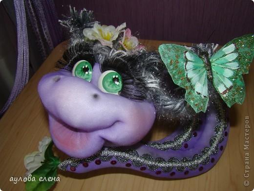 Мастер-класс Шитьё: Змейка, делаем мордочку  Капрон, Проволока Новый год. Фото 1