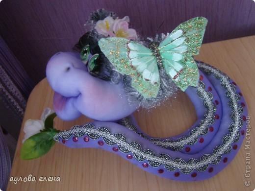 Мастер-класс Шитьё: Змейка, делаем мордочку  Капрон, Проволока Новый год. Фото 45