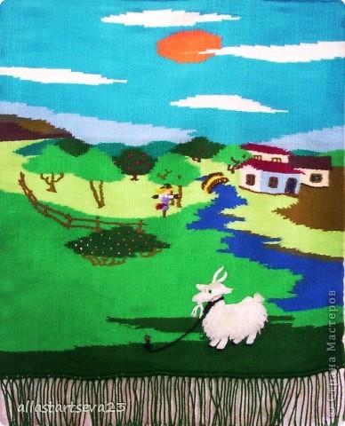 """Картина, панно, рисунок Вышивка ковровая, Ткачество ручное: Я, ребята и наша """"Мастерская народных ремесел"""" Пряжа. Фото 2"""