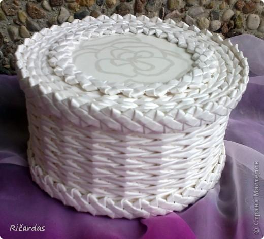 Поделка, изделие Плетение: Белый набор Бумага газетная, Бусинки, Картон. Фото 13