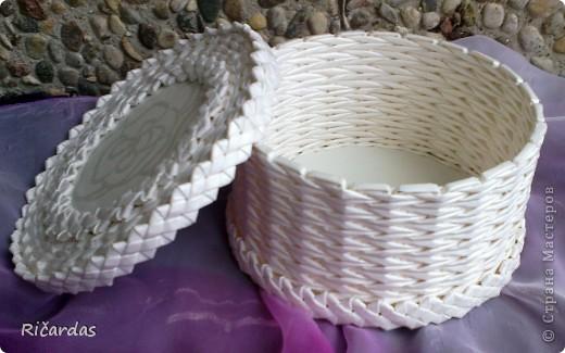 Поделка, изделие Плетение: Белый набор Бумага газетная, Бусинки, Картон. Фото 11