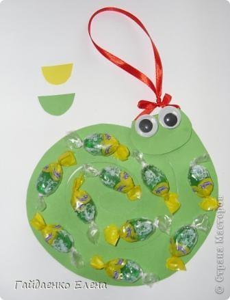 Мастер-класс, Свит-дизайн: Два варианта одной змейки Картон, Ленты, Продукты пищевые Новый год. Фото 16