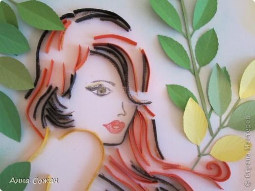 Картина, панно, рисунок Бумагопластика, Квиллинг, Литературное творчество: Спряталась Осень в зелёной листве... Бумага, Бумажные полосы, Пастель. Фото 6