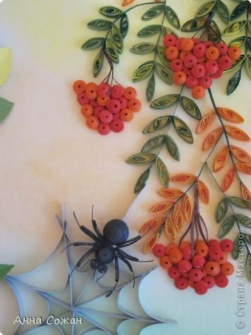Картина, панно, рисунок Бумагопластика, Квиллинг, Литературное творчество: Спряталась Осень в зелёной листве... Бумага, Бумажные полосы, Пастель. Фото 5
