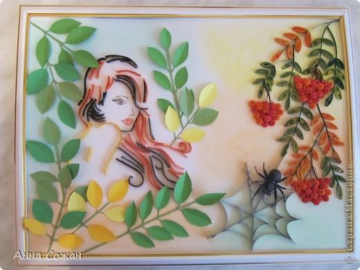 Картина, панно, рисунок Бумагопластика, Квиллинг, Литературное творчество: Спряталась Осень в зелёной листве... Бумага, Бумажные полосы, Пастель. Фото 7