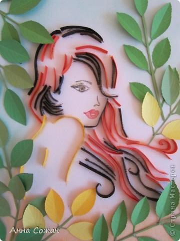 Картина, панно, рисунок Бумагопластика, Квиллинг, Литературное творчество: Спряталась Осень в зелёной листве... Бумага, Бумажные полосы, Пастель. Фото 2