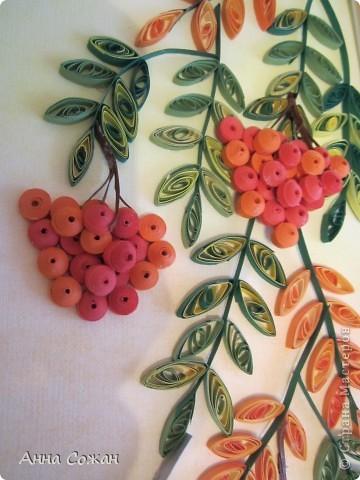 Картина, панно, рисунок Бумагопластика, Квиллинг, Литературное творчество: Спряталась Осень в зелёной листве... Бумага, Бумажные полосы, Пастель. Фото 4