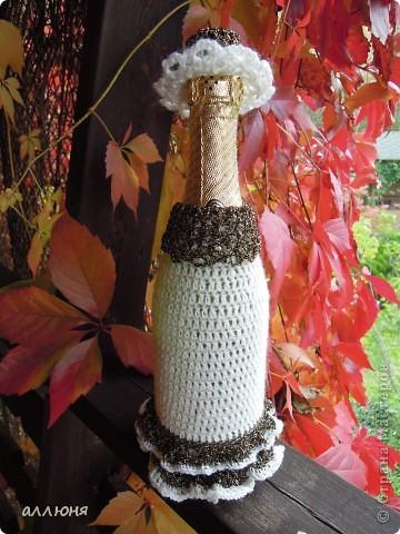 Вязание крючком декор бутылки