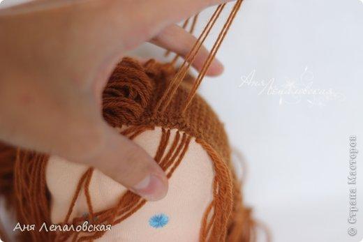 Как из ниток сделать волосы для куклы 919