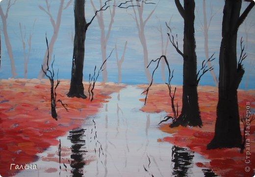 Мастер-класс Рисование и живопись: Утро туманное. Гуашь. Фото 5