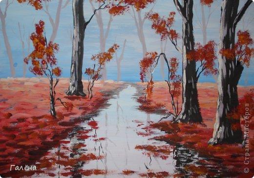 Мастер-класс Рисование и живопись: Утро туманное. Гуашь. Фото 8