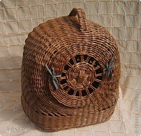 Поделка, изделие Плетение: Домик -переноска для кота Бумага газетная, Трубочки бумажные. Фото 1