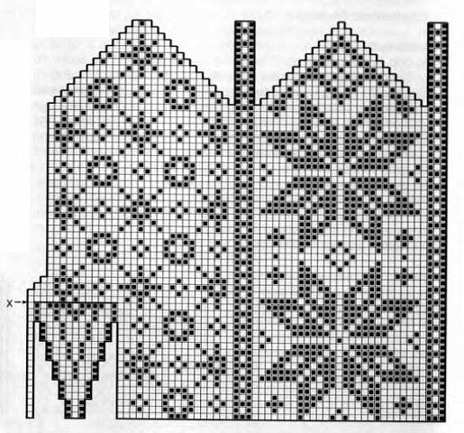 Схема узора варежки
