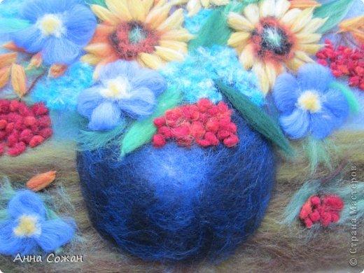 Картина, панно, рисунок Валяние (фильцевание), Рисование и живопись: Встретились Осень и Лето в одном букете! Шерсть. Фото 3